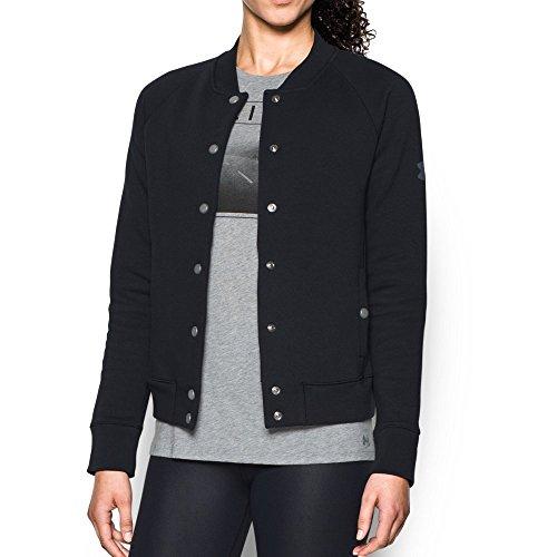 Fleece Bomber - Under Armour Women's Varsity Fleece Bomber, Black/Black, Medium