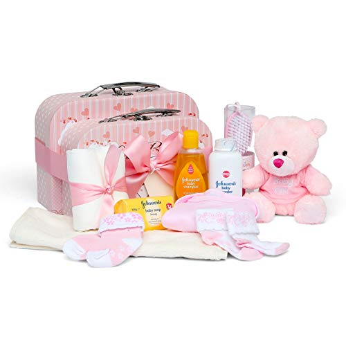 Baby Gift Set – Baby Shower Hamper inPink with Baby Clothes, Teddy Bear and Gifts Presented in 2 Keepsake Boxes