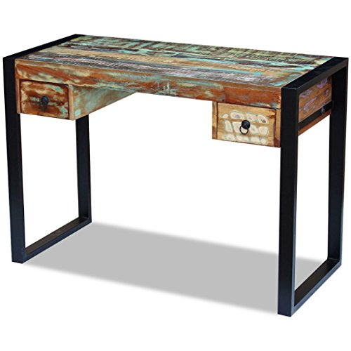 Festnight Reclaimed Wood Console Table Office Computer Desk with 2 Drawers