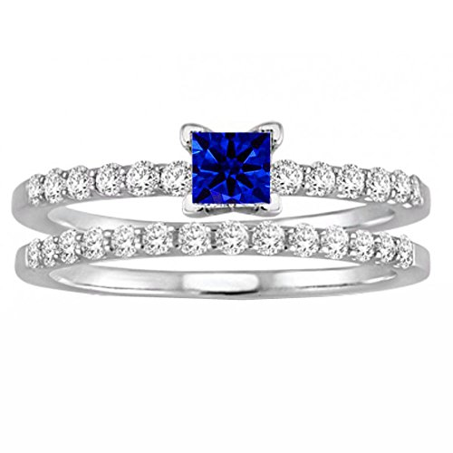 blue diamond ring princess cut - 7