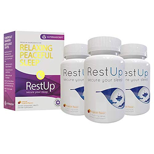 RestUp Fast-Acting Advanced Sleep Aid | 90 Quick Dissolve Tablets, Non-Habit Forming | Melatonin, Suntheanine L-Theanine, Magnesium, 5HTP | Calm The Mind | Wake Refreshed | Sleeping Pills for Adults