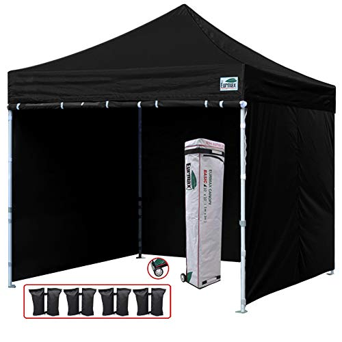 (Eurmax 10'x10' Easy Pop-up Canopy Commercial Instant Party Tent with 4 Removable Side Walls and Roller Bag, Bonus 4pcs Weight Bags (Black))