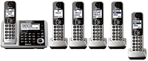 Panasonic KX-TGF375S + 1 KX-TGFA30S Handset (6 Handsets Total) Bluetooth Cordless Phone System with Dual Keypad (Renewed) (KX-TGF370S + 5, KX-TGF372S + 4, KX-TGF373S + 3, KX-TGF374S + 2)