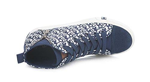 Scarpe Da Donna Sfilz Lace Up High Top Scarpe Casual In Tela Blu