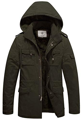 WenVen Men's Superior Hooded Work Coat(A-Army Green,L)