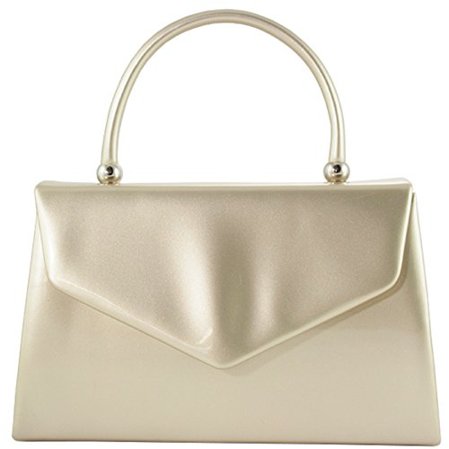 Leather Evening Purse Shoulder Retro Tote Party Hand Handbag Bridal Wedding BNWT fi9 Clutch Patent GOLD Bag AqRw0nI