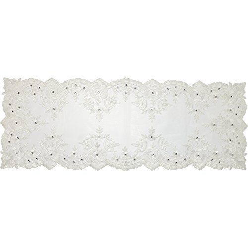 Precious Moments 179024 White Floral Lace Elegance Table Runner, 40