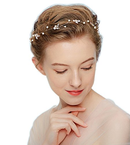 IHouse Wedding Bridal Headband Hair Vine for Women Gold by IHouse