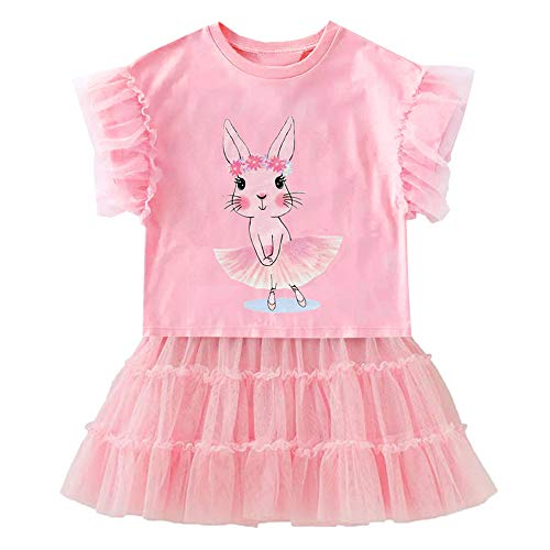 VIKITA Girls Summer Cute Bunny Tutu Dress 2pcs Set Outfit Short Sleeve Casual Cotton Dress SK3926 6T ()