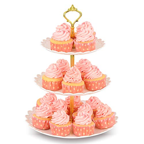 (NWK 3-Tier Elegant Round Cupcake Stand (Holds up to 20 Cupcakes) Plastic Dessert Tower Display Riser Pedestal Platter Rack Serving Tray for Wedding Birthday Graduation Summer Tea Baby Shower Party)