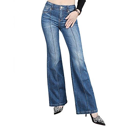 JNTworld Women 5 Pocket Casual Mid-Rise Stretch Slim Fit Bootcut Denim Mom Jeans,Large,Light Blue