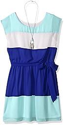 Amy Byer Big Girls\' Short Sleeve Colorblock Dress with Self Belt, Color Cobalt, 8