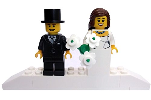 Bride BROWN hair and groom on brick plinth stand - Minifigure Minifigures,...