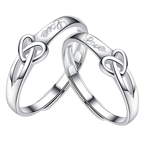 Burning Dream CHuir Matching Couple Rings, Adjustable 925 Sterling Silver Bamboo Wedding Promise Ring Set for Him and Her (Knot Heart) ()