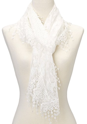 Cindy and Wendy Lightweight Soft Leaf Lace Fringes Scarf shawl for Women,White,One Size by Cindy and Wendy (Image #6)