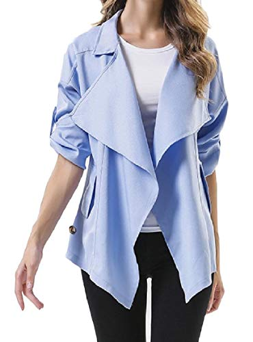Front Turn Trench Pocket Down Blue Hem Asymmetric Sky Collar Womens Open Coat RkBaoye Mini fgq6zBnn