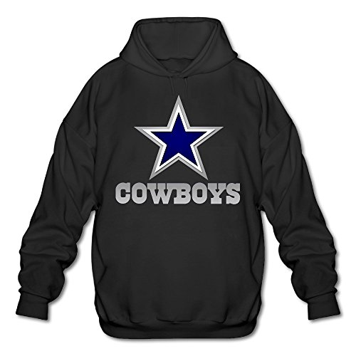 Hotboy19 Men's Long Sleeve Hoodie Dallas Sport Football Logo Black Size XL