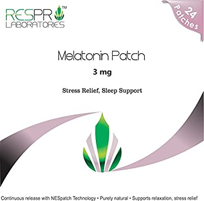Respro Labs Natural Melatonin Stress Relief and Sleep Aid Patch, 3 mg Continuous Release - 24 Patches