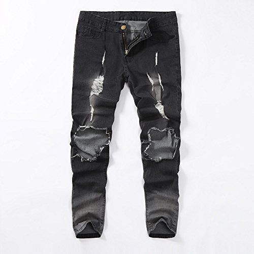 PENGYGY Mens Skinny Stretch Denim Pants Distressed Ripped Frayed Slim Fit Jeans Trousers Hole Pants Jeans Trousers by Pengy--Blouse (Image #4)