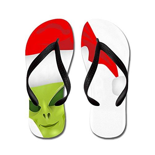 Verkligt Teague Mens Grönt Främmande Huvud Med Santa Hatt Gummi Flip Flops Sandaler Svart