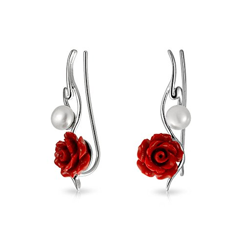 3D Red Rose Flower White Freshwater Cultured Pearl Wire Ear Pin Climbers Crawlers Earrings For Women Sterling Silver