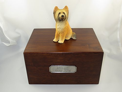 - Beautiful Paulownia Large Wooden Urn with Briard Figurine & Personalized Pewter Engraving