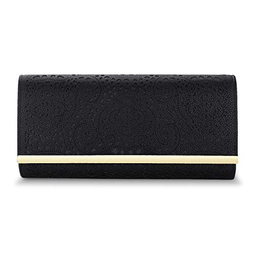 (Womens Faux Leather Envelope Clutch Bag Evening Handbag Shouder Bag Wristlet Purse With Chain Strap. (black-1))