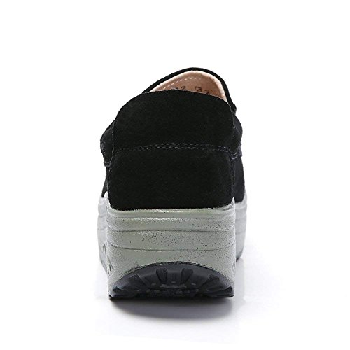 Kemosen Platform Wedge Loafers Shoes for Women Comfortable Leather Suede Moccasins Sneakers Slip On Walking Shoes Ladies Black hNF8Lds