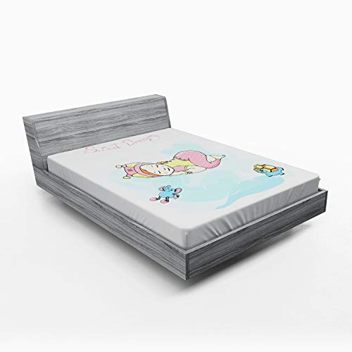 Ambesonne Sweet Dreams Fitted Sheet, Girl Sleeping with Her Toys Teddy Tortoise and Elephant Cartoon Illustration, Soft Decorative Fabric Bedding All-Round Elastic Pocket, Queen Size, Multicolor