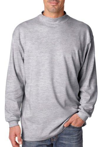 UltraClub Men's Egyptian Interlock Cotton Long-Sleeve Mock Turtleneck. 8510 - Large - Heather Grey (Long Turtleneck Ringspun Sleeve)