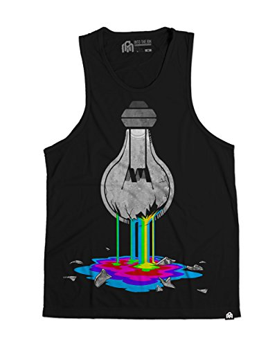 INTO THE AM Bleeding Bulb Men's Sleeveless Tank Top Shirt (Black, X-Large) (Cute Rave Outfits Ideas)