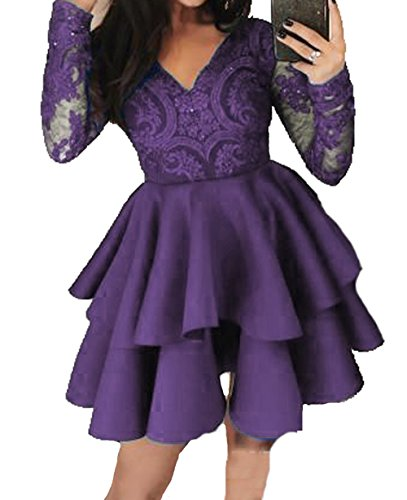 Bessdress Dentelle Au Large Des Robes Courtes Homecoming Épaule Robes De Bal De Style De Raisin Bd448 3