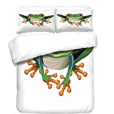 3Pcs Duvet Cover Set,Animal Decor,Cute Illustration of Big Red Eyed Tree Frog on Simple Background Kids Cartoon Print,Green White,Best Bedding Gifts for Family/Friends