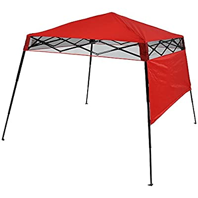 Sunnydaze Compact Quick-Up Slant Leg Instant Pop-Up Backpack Canopy, 6 x 6 Foot Top, 7.5 x 7.5 Foot Bottom