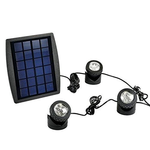 RivenAn 18 LEDs Waterproof Solar Energy Powered Spotlight Projection Light with 3 Submersible Lamps for Outdoor Garden Pool Pond Spot Lamp Light, Underwater Light, Blue by RivenAn
