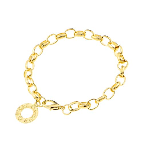 Stylish 1Pcs Lobster Clasps Wrist Bracelet Round Metal Charm jewelry Chain Links Bracelets Women(Golden,18cm Length)