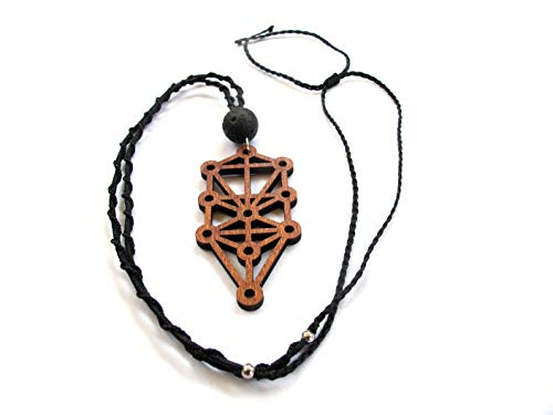 """Long Boho Necklace """"Sefirot"""", Wood Pendant with leather cord, Sacred Geometry Jewelry - Tigers Geometric Eye Necklace"""