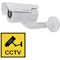 uxcell Gun Dummy Fake Surveillance Security CCTV Dome Camera Indoor Outdoor with Red LED Light Blinking AA Battery Powered + Warning Security Alert Sticker