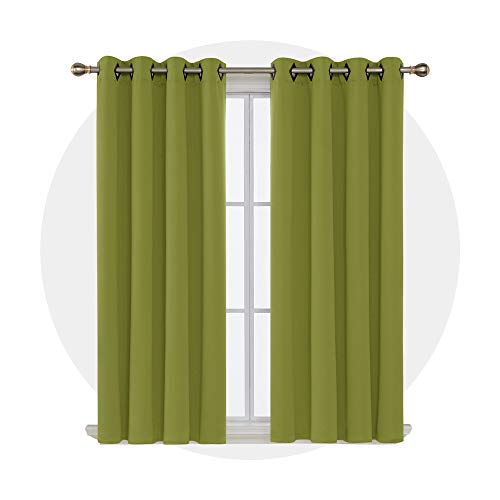 Deconovo Solid Grommet Top Blackout Curtains Room Darkening Drapes Thermal Insulated Curtains for Patio 52W x 63L Inch Lime Green 1 Pair (Drapes Lime Green Curtains)