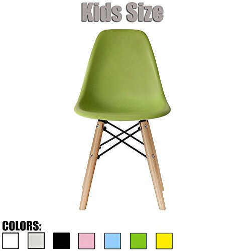 2xhome - Green - Kids Size Eames Side Chair Eames Chair Green Seat Natural Wood Wooden Legs Eiffel Childrens Room Chairs No Arm Arms Armless Molded Plastic Seat Dowel Leg by 2xhome