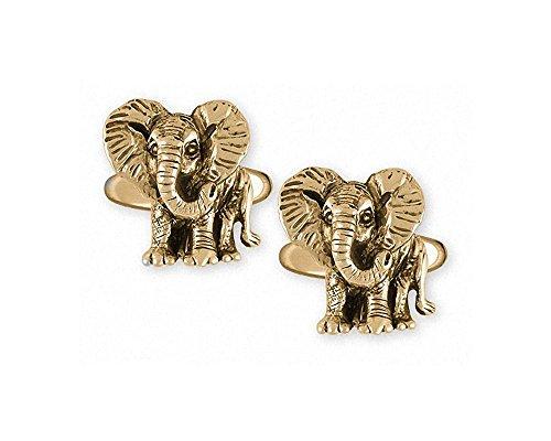 Elephant Jewelry 14k Gold Elephant Cufflinks Handmade Wildlife Jewelry EL7-CLG