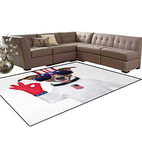 Jack Russell Maltese (4th of July,Rug,Jack Russell with an Uncle Sam Hat Gloves and Giant Sunglasses Celebrating,Dining Room Home Bedroom Carpet Floor Mat,Multicolor,5'x6')