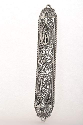 Handmade Rounded oxidized 925 Sterling Silver Filigree Mezuzah