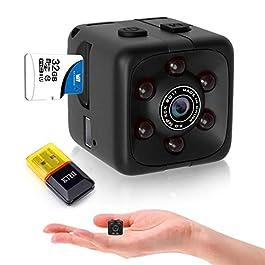 Mini Spy Camera Hidden Camera HD Audio and Video Recording, Night Vision Motion Detection, Surveillance Camera Small Dog Camera Nanny Cam Baby Monitor Home Security Camera, no WiFi and APP Needed