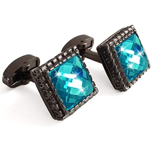 Aizm Cufflinks Unique Square Enamel Blue Cuffs Luxury French Shirts Silver Cuff Link for Men 1 Set