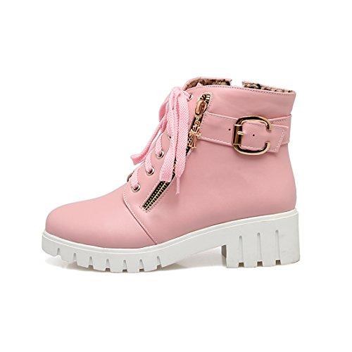 YE Damen Chunky Heels Ankle Boots Plateau High Heels Stiefeletten mit Schnürung und Reißverschluss Elegant Modern Schuhe Rosa