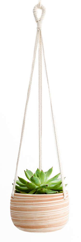 Mkono Ceramic Hanging Planter Macrame Plant Holder 5 Inch Cute Succulent Cactus Pot with Cotton Rope Hanger for Indoor Outdoor Decor