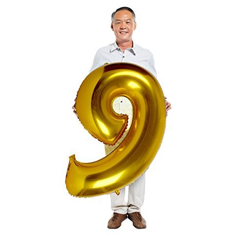 Bday Mylar Balloon - Treasures Gifted Gold 9th Birthday Number Mylar Balloons Party Decorations for Boys and Girls Big Bday Foil Glossy Banner Supplies Giant Customized Nine Ornament Centerpieces