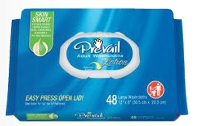 Prevail Single-Hand Dispensing Feature Scented Large Washcloths,  48 Count (Pack of 12)