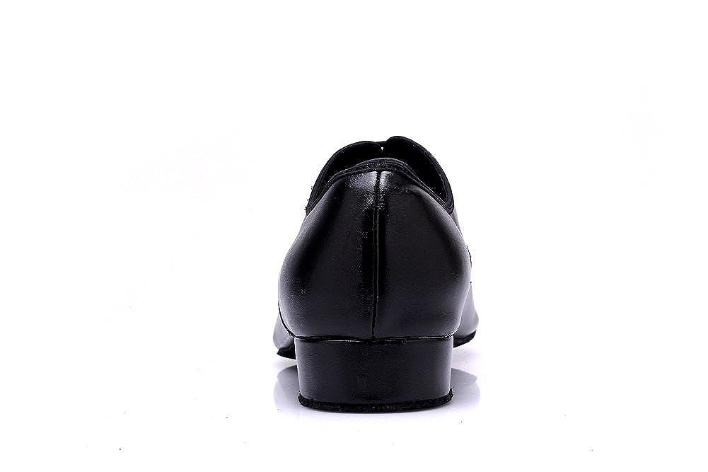 DLisiting Latin Dance Shoes Mens Ballroom Leather Modern Dancing Shoes Black